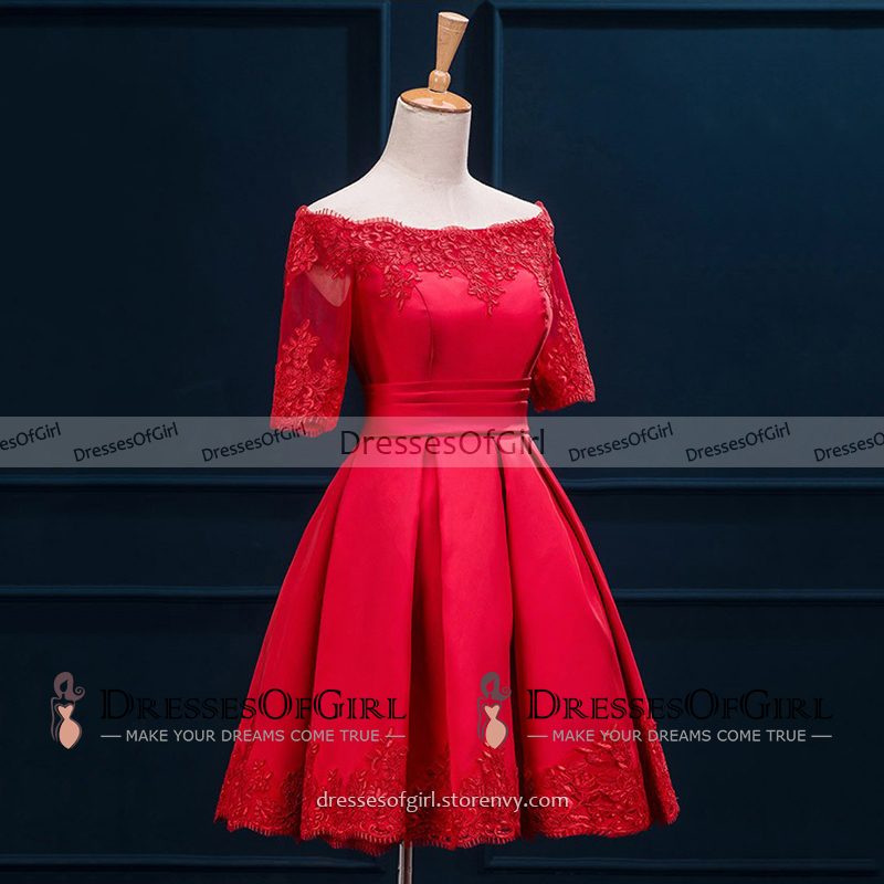 5b3be99151 ... Off the Shoulder Red Satin Prom Dress with half Sleeves