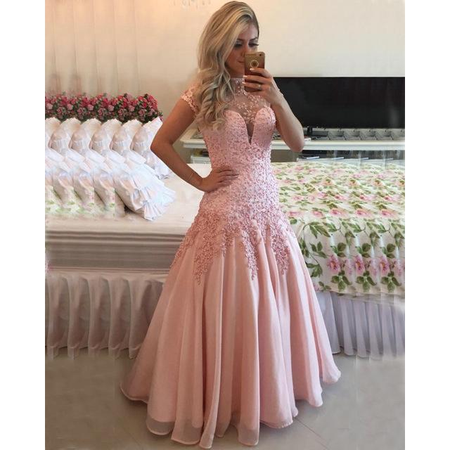 2701e4b8326b High Neck Short Sleeves Pink Prom Dress