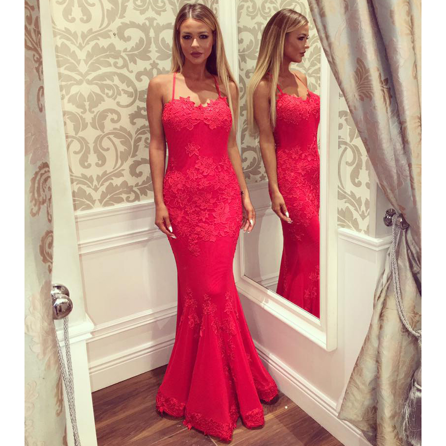 351f22c206 Sexy Spaghetti Straps Prom Dress with Crisscross Back