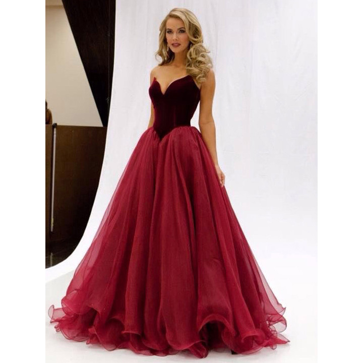 Elegant Burgundy Ball Gown Prom Dress Pretty Princess Sweetheart