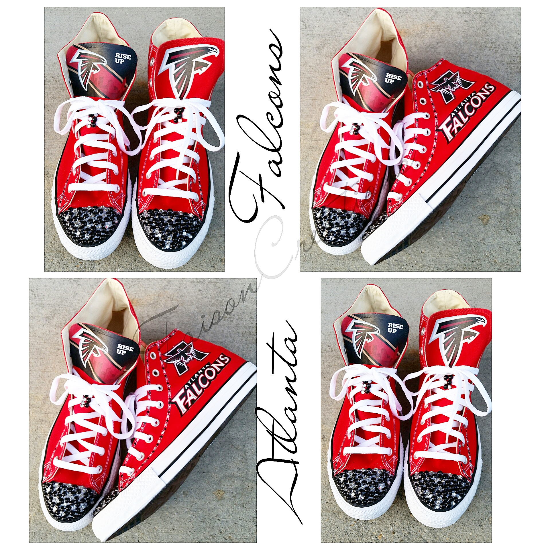 Adult High Top Custom Falcons Converse (Size 4 9) from FaisonCreations