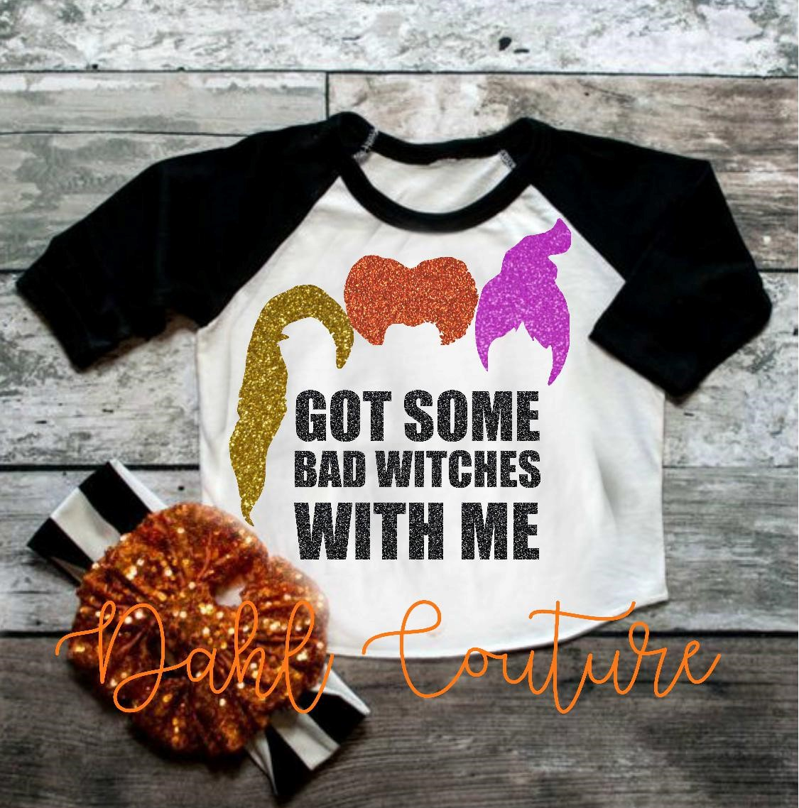 39975499e I've got bad witches with me,Sanderson Sisters Mickey ear Glitter graphic  shirt