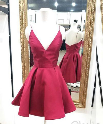 50469eab6df Cute red A-line short homecoming dress with spaghetti straps