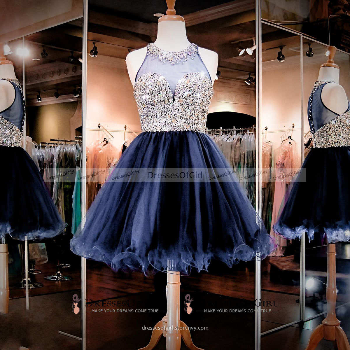 be72ee0f14eb Sparkling Jewel Neck Illusion Crystal Beaded Tulle Prom Dress
