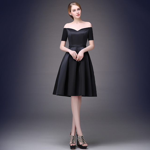 Black Prom Dresses Short Sleeve Prom Dress Knee Length Prom Dress