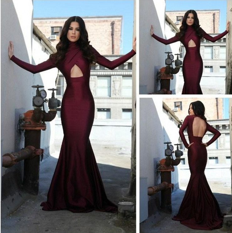 Burgundy Prom Dress Long Sleeve Prom Dress Sexy Open Back Prom