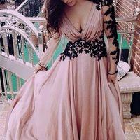 aeb73c86e39 ... A90 Long Sleeve Black Lace Deep V Neck Chiffon Floor-Length Evening  Dresses