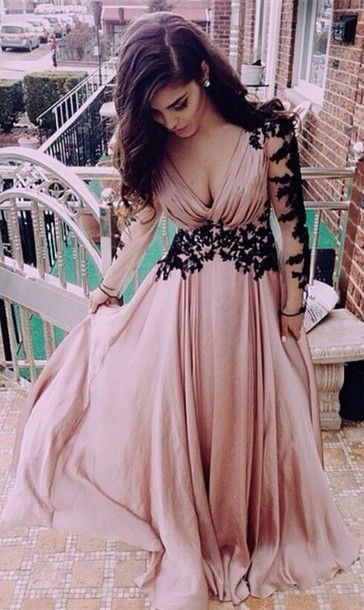 A90 Long Sleeve Black Lace Deep V Neck Chiffon Floor Length Evening Dresses Pink Party Dresses Black Lace Prom Dress Miss Lady Online Store Powered By Storenvy