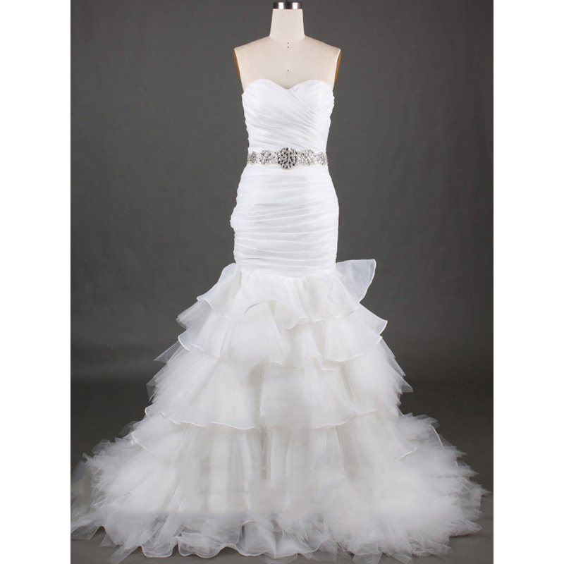 7e0388fdbb75 Ruched Sweetheart Beaded Long Wedding Dress, Beaded Tulle Tiered Trumpet  Bridal Gown, Lace-