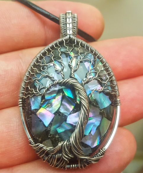 Wire Wrap Tree Of Life Pendant With Mother Of Pearl
