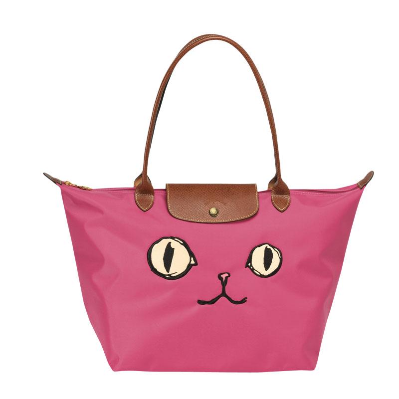 b3ab064101fe Authentic Longchamp Le Pliage Large Miaou Cat Tote Bag Pink Free ...