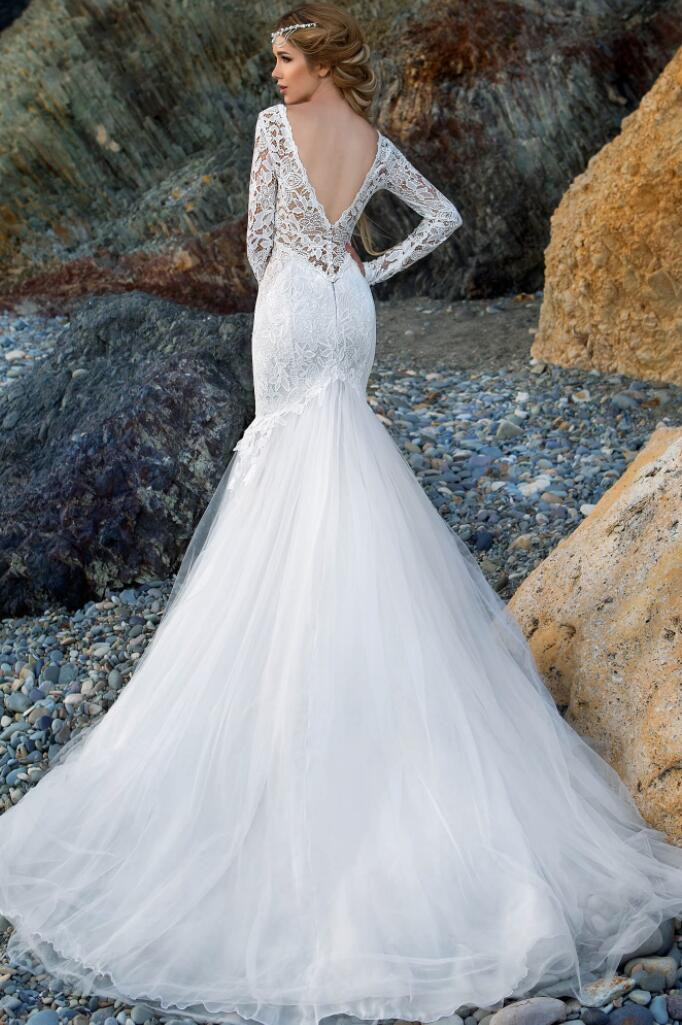 f81149017a3 A239 New Design V Neck Sexy Mermaid Long Sleeve Lace Wedding Dresses Long  Tulle Fashionable White