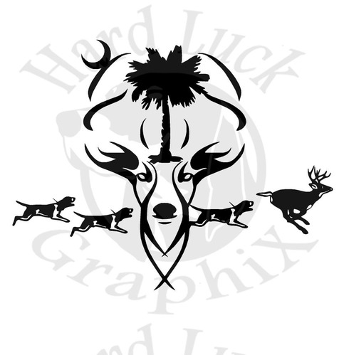 Sc Deer With Hounds 6 Quot Decal 183 Hard Luck Graphix 183 Online