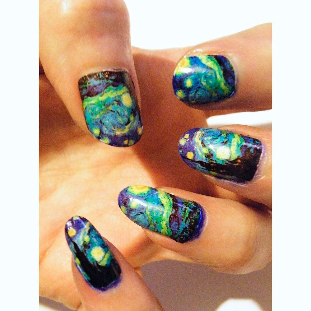Starry Night Van Gogh Women Manicure Nail Polish Art Nails cure Art History