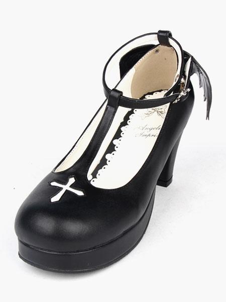 f253fd8556 ... Dark Angel Matte Black Gothic Lolita Ankle Strap Heels - Thumbnail 3