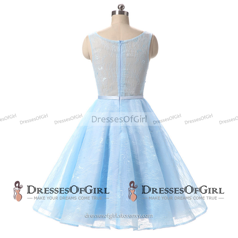 Bateau Neck Pearl Lace Appliques Short Prom Dress, Ice Blue A-line ...