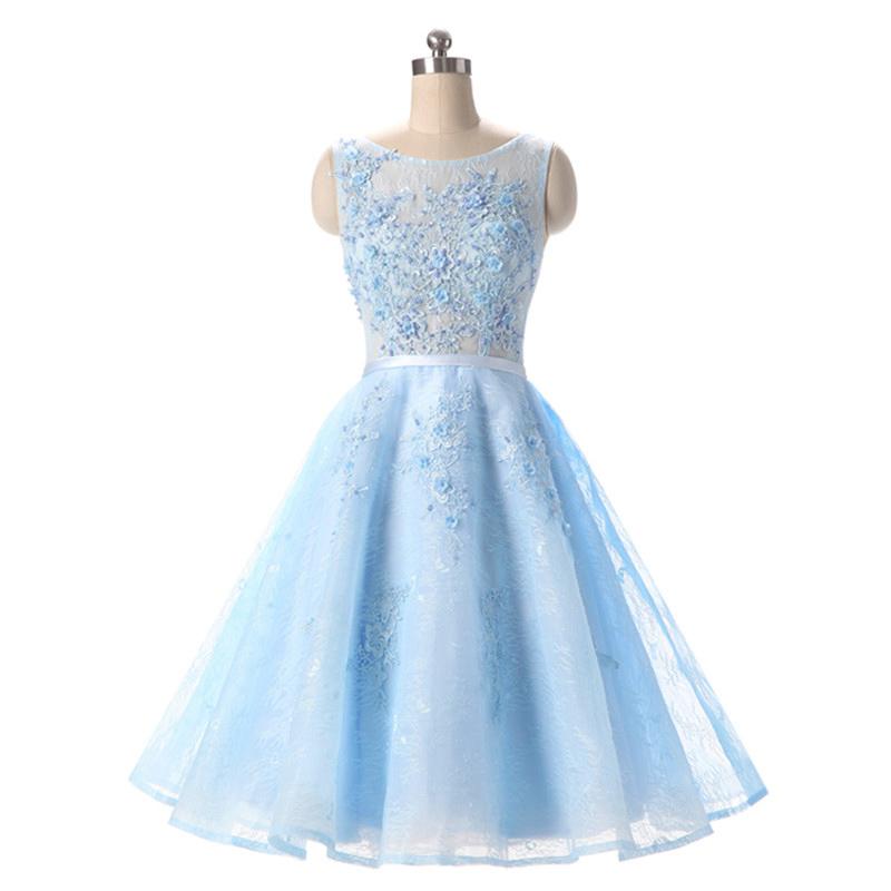ad0252614116 Bateau Neck Pearl Lace Appliques Short Prom Dress