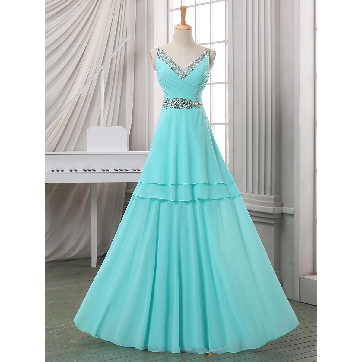 990e5a3dc0 Sequins Beaded V Neck Long Prom Dress