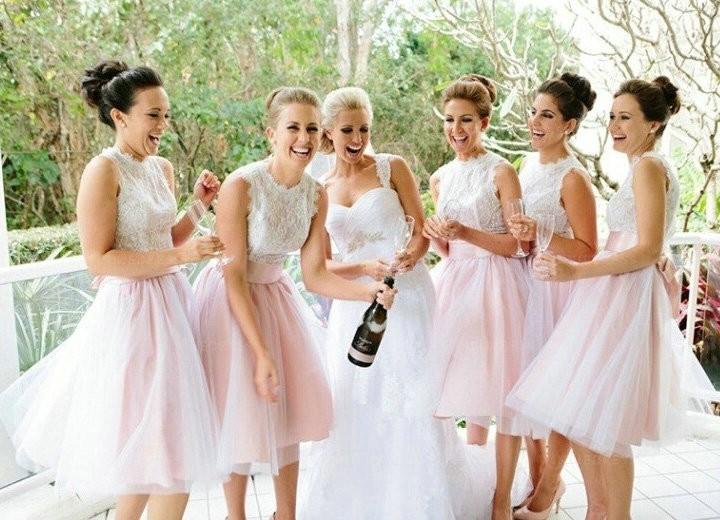 d904e2d81e6 Lace Tulle Blush Pink Puffy Skirt Bridesmaid Dress Wedding Party Dress Knee  Length Prom Dress HC1821