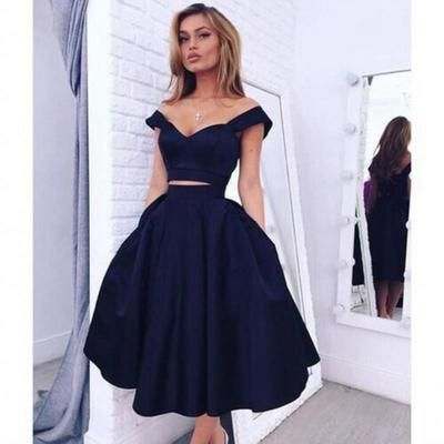 2a1bd9ca7cb Dark Blue Two Pieces Off the Shoulder Satin prom dresses 2017 new style  fashion evening gowns