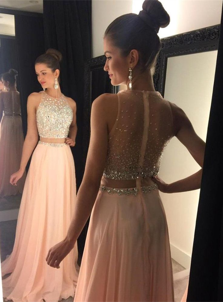 Fashion 2 pieces beading long prom dress,modern scoop A-line evening ...