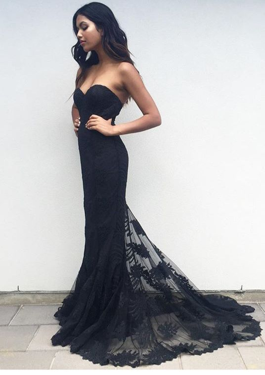 Sweetheart Mermaid Lace Flower prom dress new style fashion evening ...