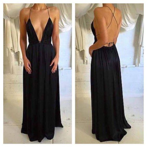 Simple Black Chiffon Prom Dressspaghetti Straps Evening Dresssexy