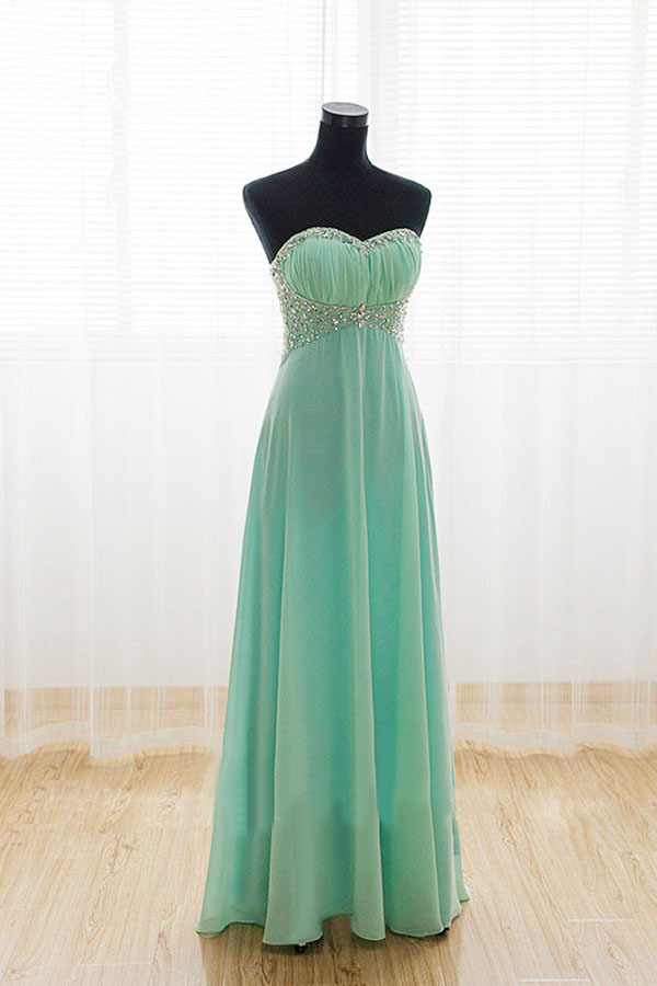 Strapless Mint Long Prom Dresses