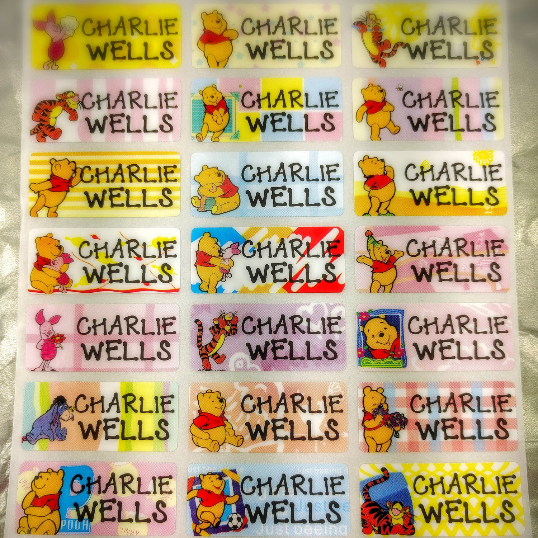 winnie the pooh disney kids name label tag child allergy sticker