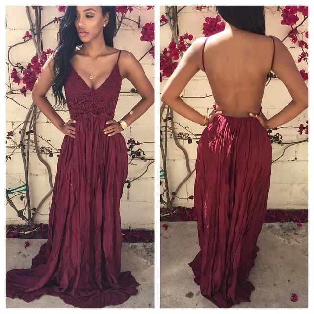 Burgundy Lace Long Prom Dress Formal Evening Dress Whit Lace Top On