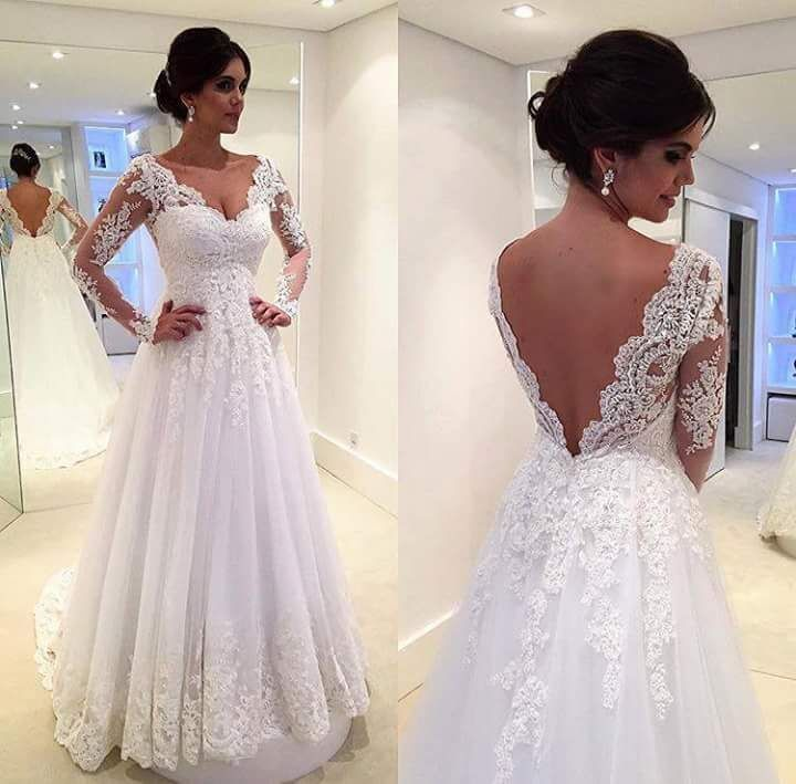L2 Special Design V Neck Long Sleeve Lace Wedding Dresses Chapel Train Prom
