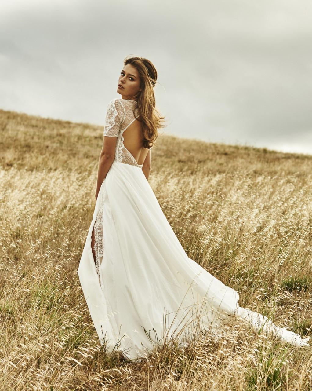 Short Sleeves Wedding Dress,Long White Lace Wedding Dress,Open Back ...