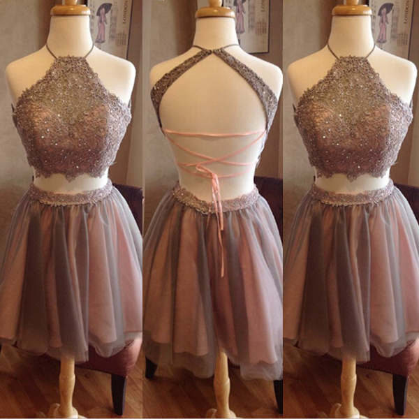 Short Brown Halter Dress,