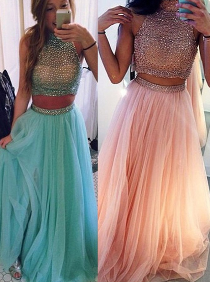 Gorgeous Two-pieces Beading Halter Neck Prom Dress-Tulle Sleeveless ...