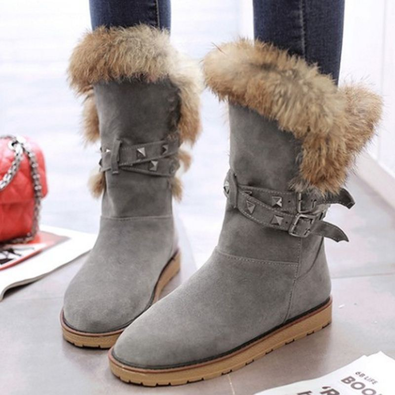 e51cc9c3eb9b SH JH Women Mid-Calf Snow Boots with Warm Fur Lining Fashion in Winter-3