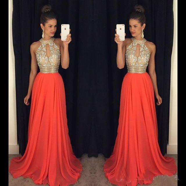 37c6c723472 Halter Beading Chiffon Long Prom Dress