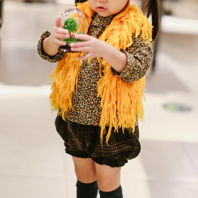 703a783ec80 Chico baby kids mohair knitted tassel vest children toddlers warm mustard  yellow vest real photoed.