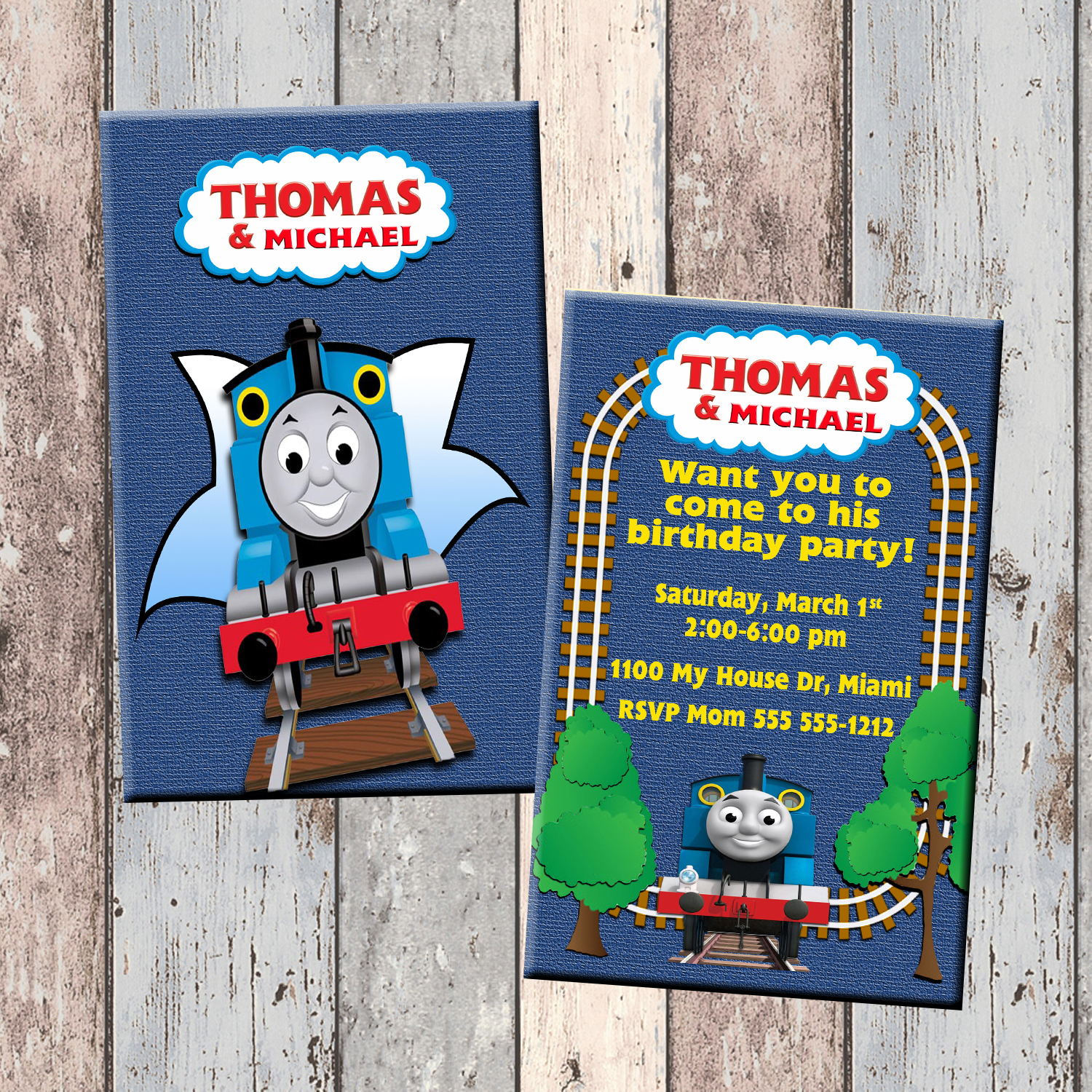 Thomas The Train Personalized Birthday Invitation 2 Sided Card Party