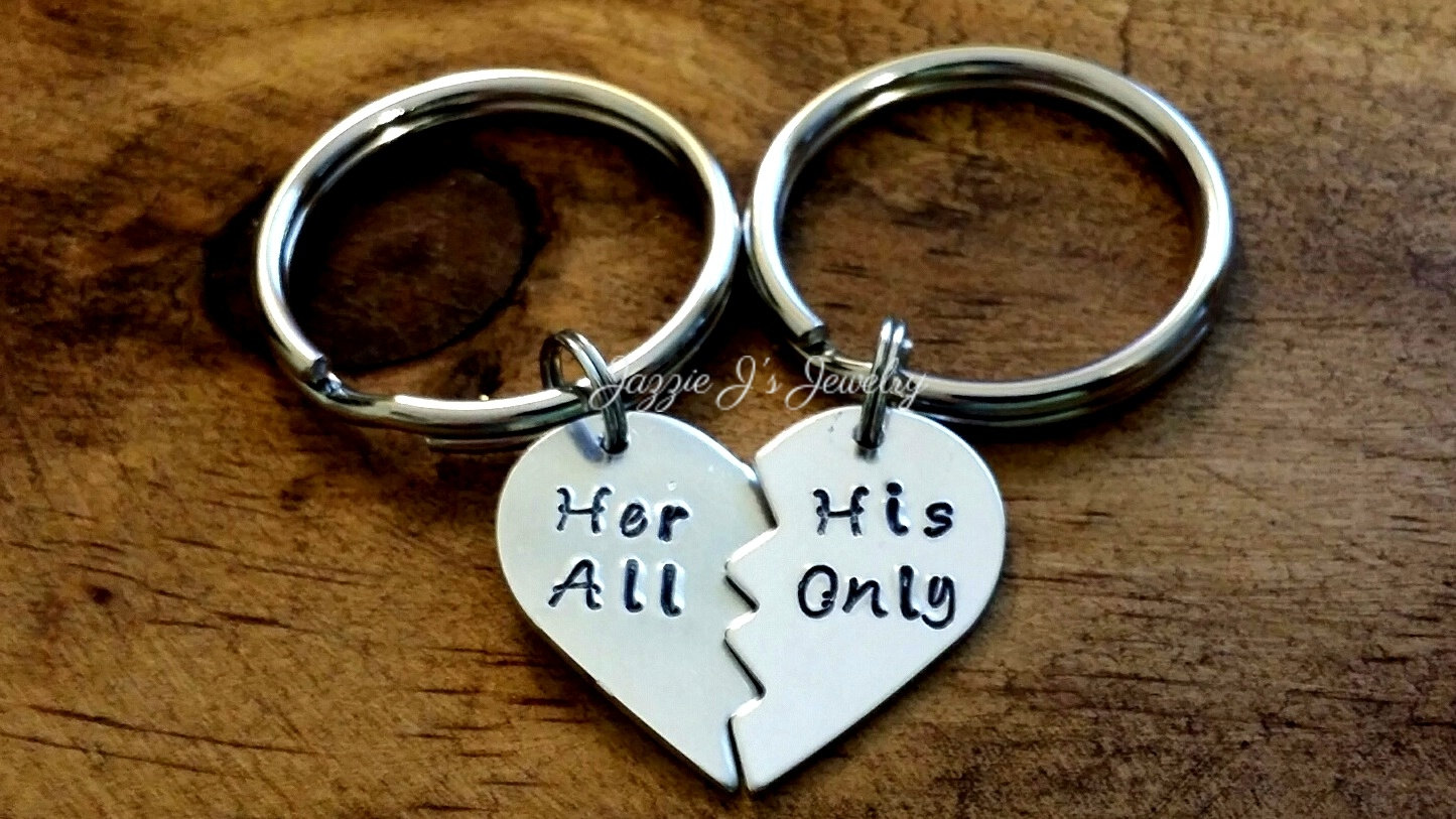 pair of her all his only hand stamped split heart keychain couples