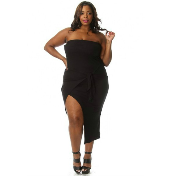 Plus Size Tube Top Front Tie Bodycon Dress Black sold by Head2Toez Apparel