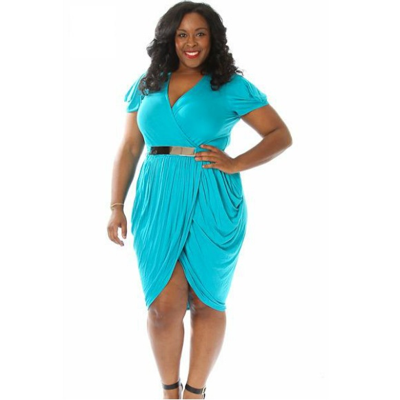 Plus Size Draped Dress with Metal Belt Teal sold by Head2Toez Apparel