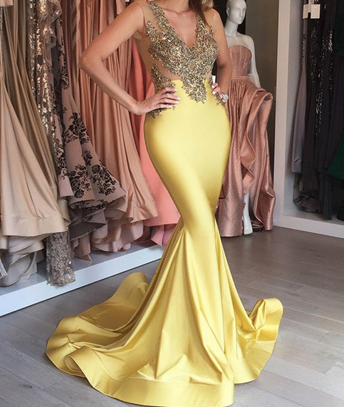 Yellow V Neck Lace Mermaid Long Prom Dress Yellow Formal