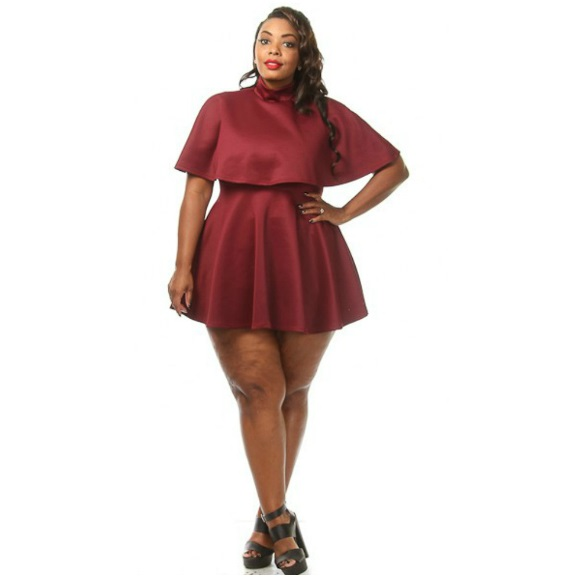 Plus Size Skater Dress with Mock Neck Cape Top Burgundy on Storenvy