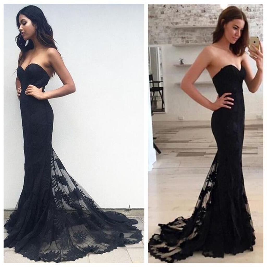 mermaid bridesmaid dress Black