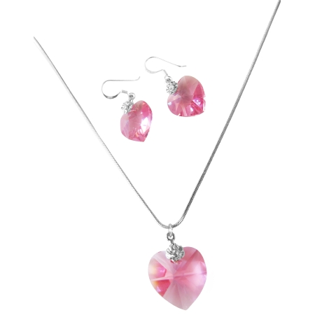 e1e3b487bfd48 NSC523 Cool Rose Pink Swarovski Crystals Heart Pendant & Earrings Jewelry  Set