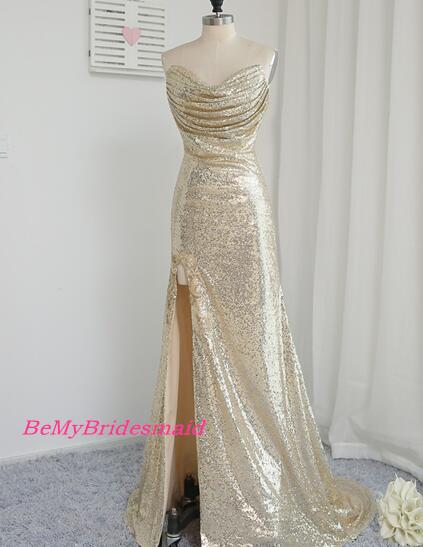6ee7a46e778 Shiny Sparkle Light Champagne Sequins Slit Prom Dresses