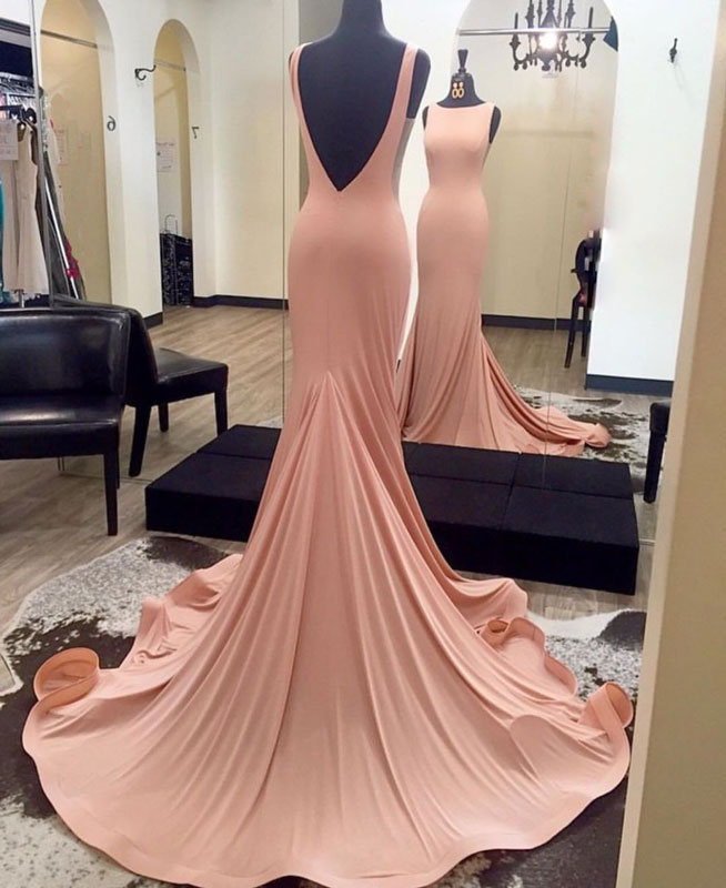 d15b3a757d9e Elegant pink mermaid backless long prom dress