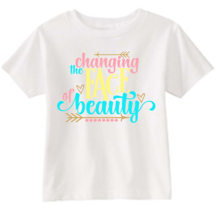 5d855ee7 Children's Down Syndrome Awareness Tee Shirt Changing the Face of Beauty