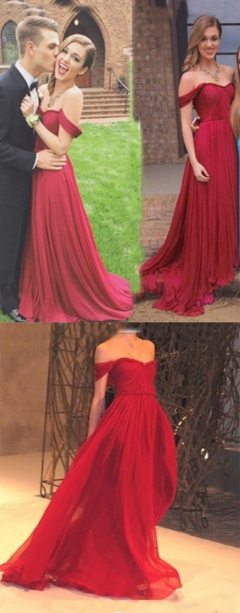 New Arrival Red Chiffon Prom Dresscharming A Line Off The Shoulder