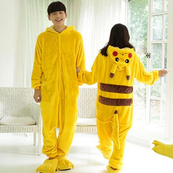 40467eb2c0da Pokemon Pikachu Cosplay Animal Hoodie Sleepwear Pajamas Adult Yellow ...